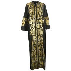 Vintage 1970s Black & Gold Lamé Embroidered Caftan Maxi Dress