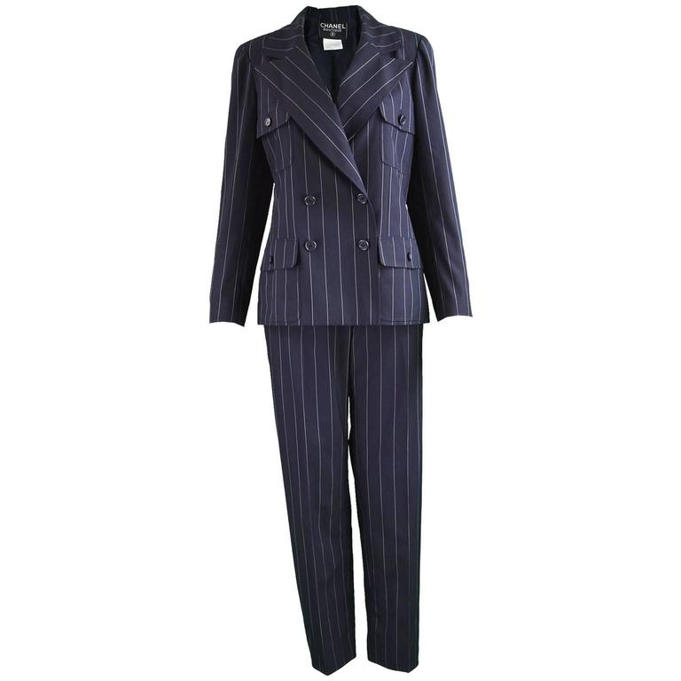 Chanel Womens Vintage Menswear Inspired Pinstripe Pant Suit, S/S 1997