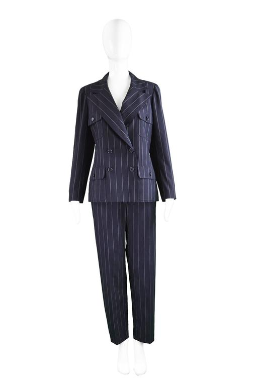 "Chanel Womens Vintage Menswear Inspired Pinstripe Pant Suit, S/S 1997  Estimated Modern Size: UK 10-12/ US 6-8/ EU 38-40. Please check measurements. Jacket Bust -38"" / 96cm (please remember to leave a couple of inches room for movement) Waist - 34"""