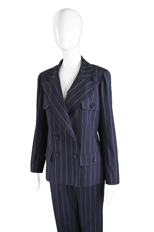 Black Chanel Womens Vintage Menswear Inspired Pinstripe Pant Suit, S/S 1997
