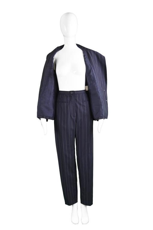 Chanel Womens Vintage Menswear Inspired Pinstripe Pant Suit, S/S 1997 4