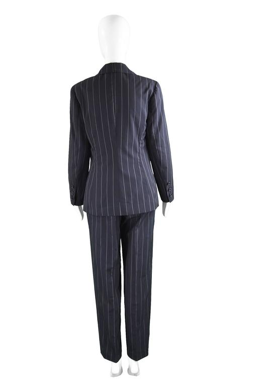 Chanel Womens Vintage Menswear Inspired Pinstripe Pant Suit, S/S 1997 2