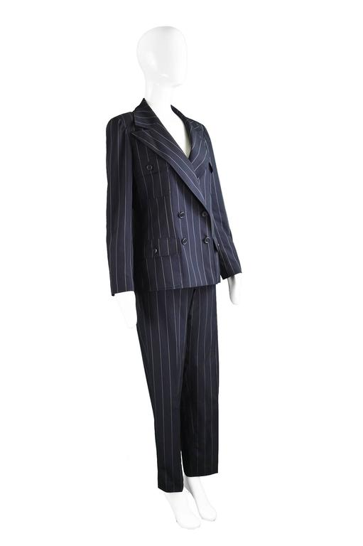 Chanel Womens Vintage Menswear Inspired Pinstripe Pant Suit, S/S 1997 In Excellent Condition In Doncaster, South Yorkshire