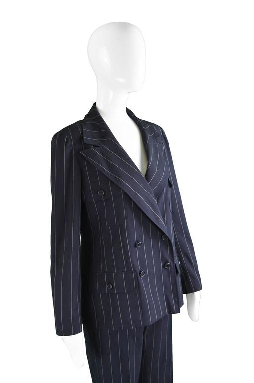 Women's Chanel Womens Vintage Menswear Inspired Pinstripe Pant Suit, S/S 1997