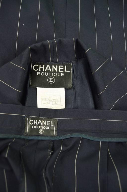 Chanel Womens Vintage Menswear Inspired Pinstripe Pant Suit, S/S 1997 5