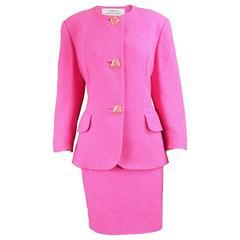 Tomasz Starzewski Pink Cotton Bouclé Skirt Suit with Love Heart Buttons, 1980s