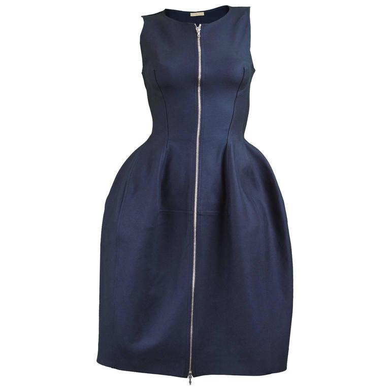 Alaia Navy Blue Sculptural Godet Panel Cotton Front Zip Dress