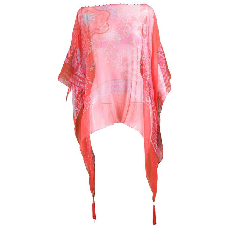 "Zandra Rhodes ""The Neo Fantasy Look"" Red Silk Chiffon Kaftan, A/W 1993 1"