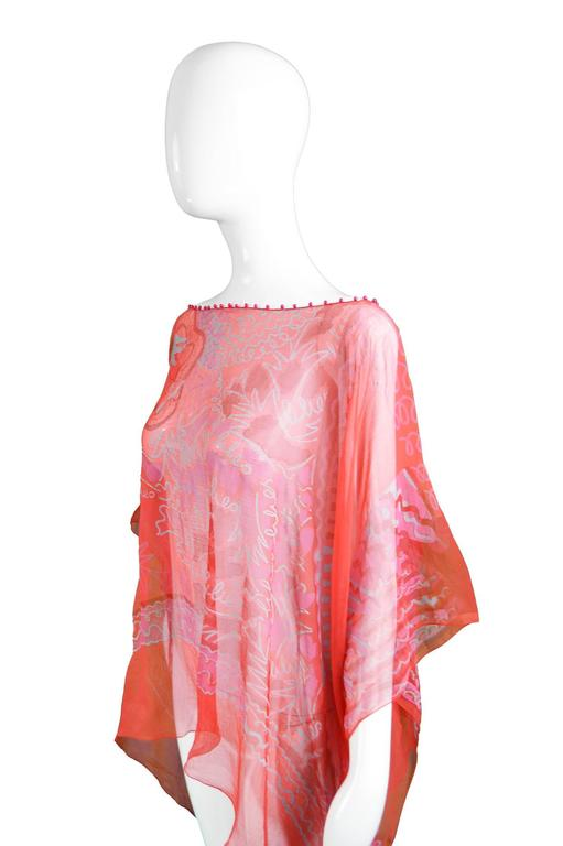 "Zandra Rhodes ""The Neo Fantasy Look"" Red Silk Chiffon Kaftan, A/W 1993 For Sale 4"