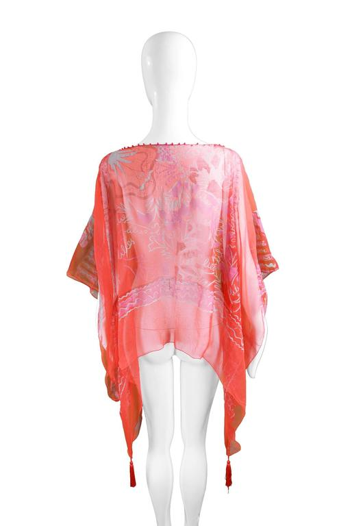 "Zandra Rhodes ""The Neo Fantasy Look"" Red Silk Chiffon Kaftan, A/W 1993 9"