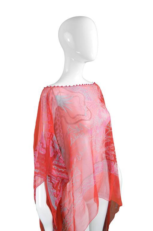 "Women's Zandra Rhodes ""The Neo Fantasy Look"" Red Silk Chiffon Kaftan, A/W 1993 For Sale"