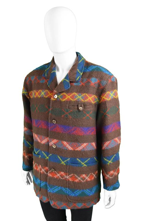 Kenzo Homme Men S Brown And Teal Striped Fuzzy Wool