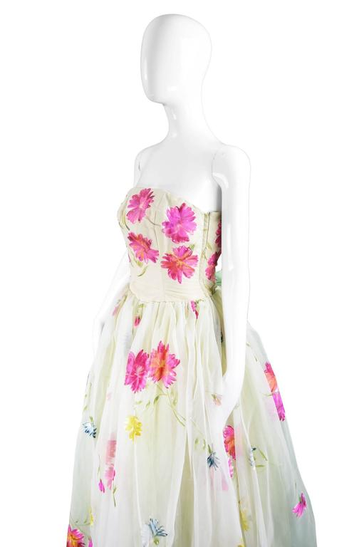 Incredible Vintage 1950s Hand Painted Organza Ball Gown