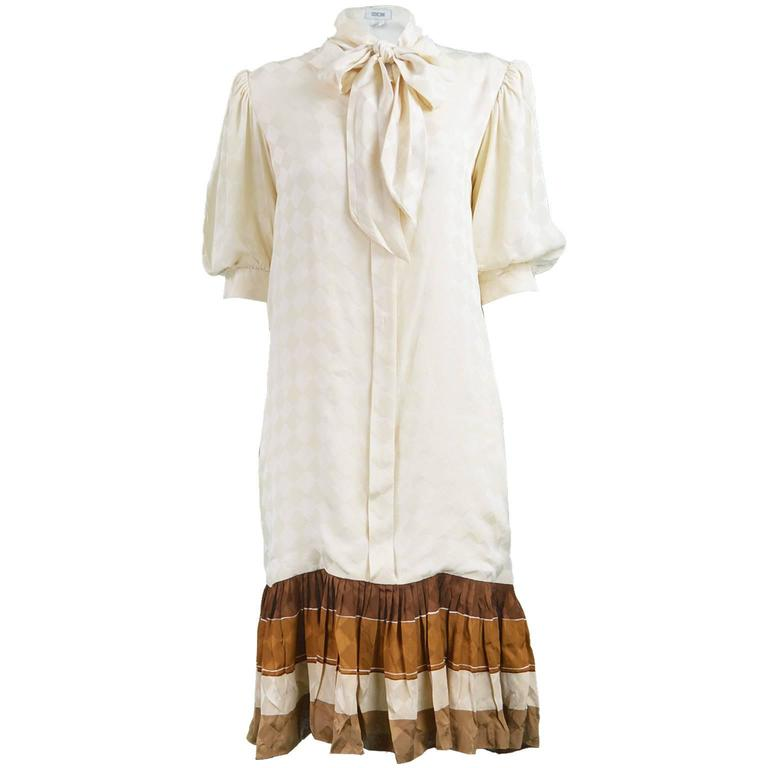 Andrea Odicini Cream & Brown Silk Drop Waist Shift Dress with Pussy Bow, 1980s