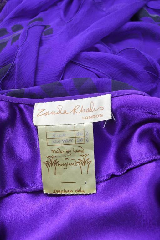Zandra Rhodes Purple Floral Silk Chiffon Dress with Floor Length Train, c. 1970s For Sale 5
