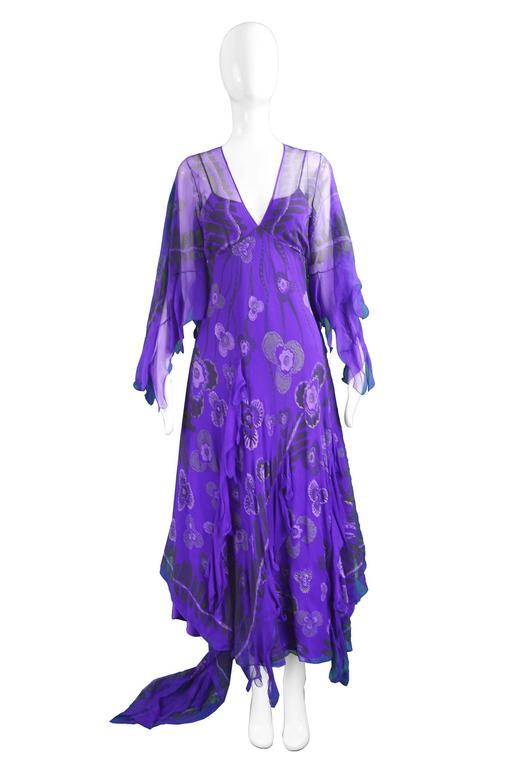 "Zandra Rhodes Purple Floral Silk Chiffon Dress with Floor Length Train, c. 1970s-80s  Estimated Size: UK 10-12/ US 6-8/ EU 38-40. Please check measurements. Bust - 35"" / 89cm Waist - 32"" / 81cm Hips - Up to 48"" / 121cm Length (Bust to Hem) -"