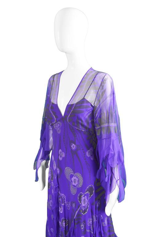 Zandra Rhodes Purple Floral Silk Chiffon Dress with Floor Length Train, c. 1970s For Sale 1