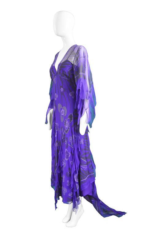 Women's Zandra Rhodes Purple Floral Silk Chiffon Dress with Floor Length Train, c. 1970s For Sale