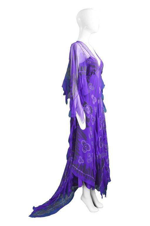 Zandra Rhodes Purple Floral Silk Chiffon Dress with Floor Length Train, c. 1970s For Sale 2