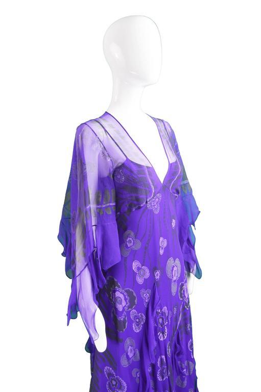Zandra Rhodes Purple Floral Silk Chiffon Dress with Floor Length Train, c. 1970s For Sale 3