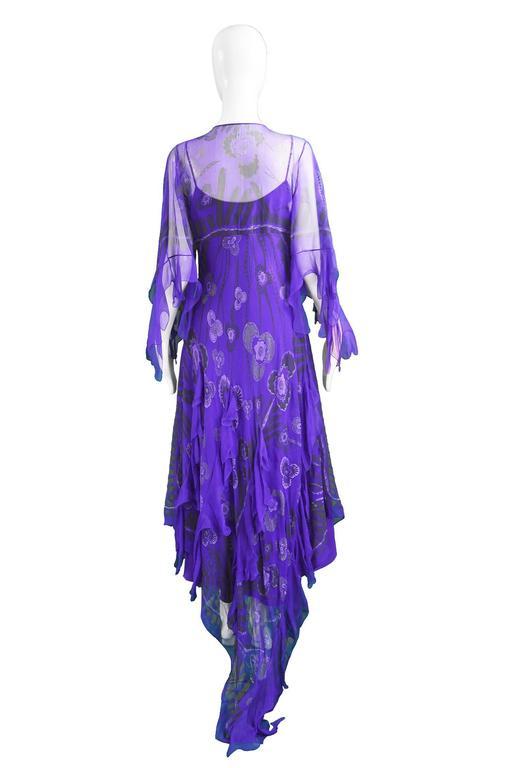 Zandra Rhodes Purple Floral Silk Chiffon Dress with Floor Length Train, c. 1970s For Sale 4