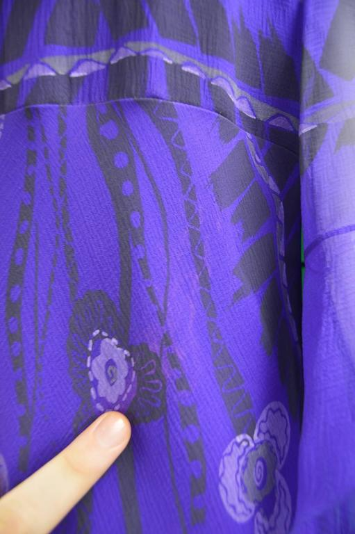 Zandra Rhodes Purple Floral Silk Chiffon Dress with Floor Length Train, c. 1970s For Sale 6