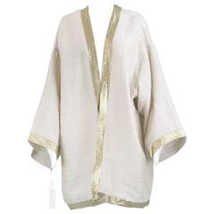 Unworn Isaac Mizrahi Vintage Beige Linen & Gold Lamé Kimono Jacket, 1990s