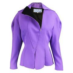 Thierry Mugler Avant Garde Purple Wool & Black Velvet Futuristic Jacket, 1980s