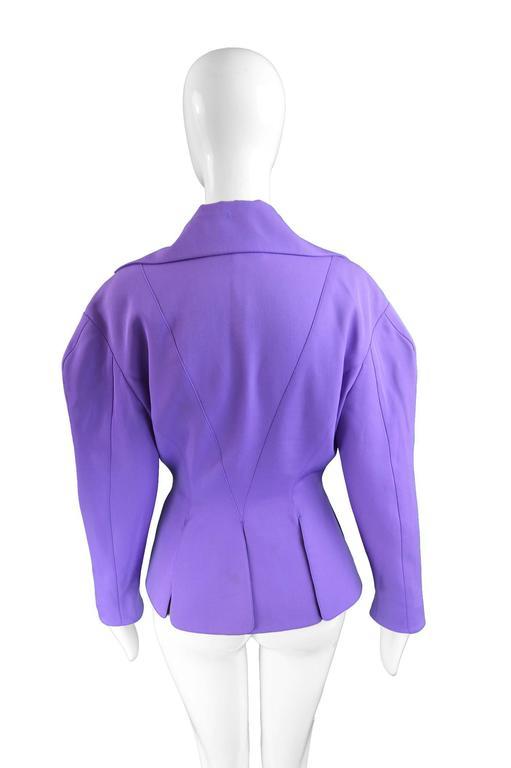 Thierry Mugler Avant Garde Purple Wool & Black Velvet Futuristic Jacket, 1980s For Sale 1