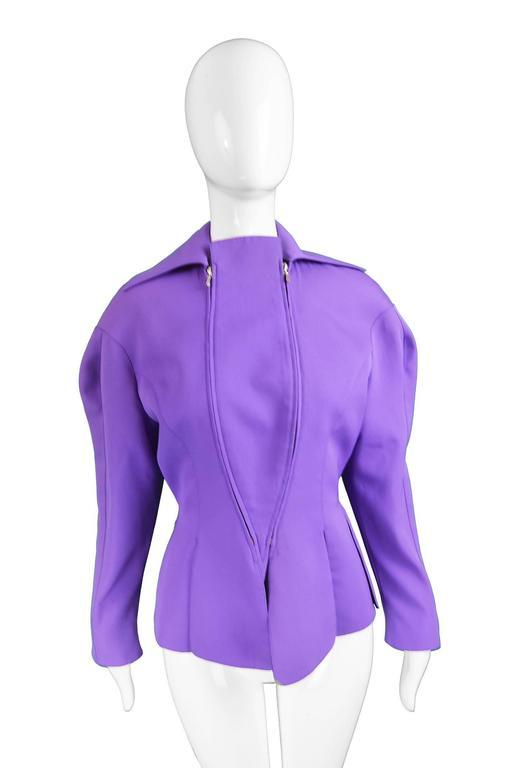 Women's Thierry Mugler Avant Garde Purple Wool & Black Velvet Futuristic Jacket, 1980s For Sale
