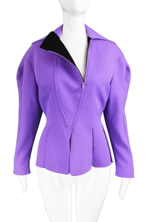 Thierry Mugler Avant Garde Purple Wool & Black Velvet Futuristic Jacket, 1980s In Excellent Condition For Sale In Doncaster, South Yorkshire