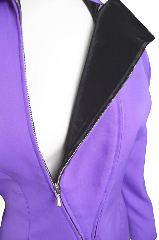 Thierry Mugler Avant Garde Purple Wool & Black Velvet Futuristic Jacket, 1980s For Sale 3