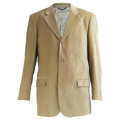 Ted Lapidus Men's Single Breasted Camel Velvet Blazer Jacket