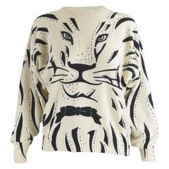 Krizia Iconic 'Animal Series' Cream Wool Tiger Face Knit Sweater, 1980s