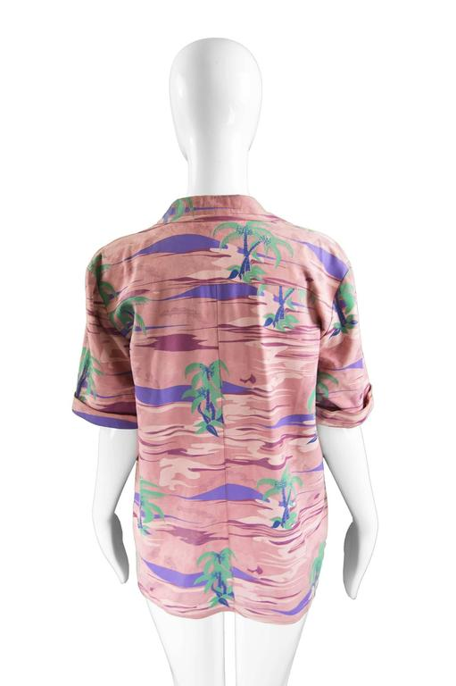 Roberto Cavalli Printed Suede Vintage Pink Tropical Island Shirt, 1970s For Sale 1