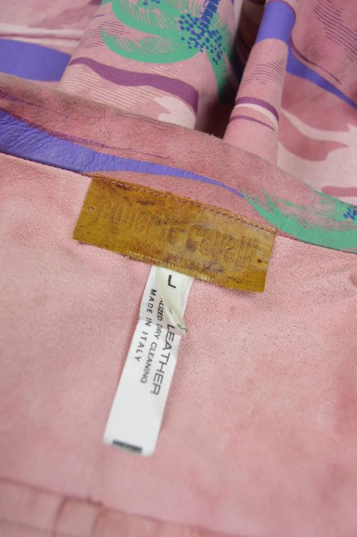 Roberto Cavalli Printed Suede Vintage Pink Tropical Island Shirt, 1970s For Sale 2