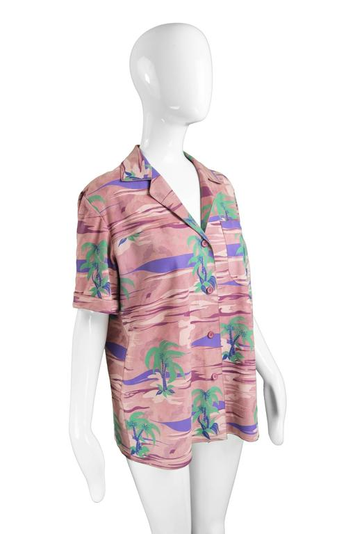 Women's Roberto Cavalli Printed Suede Vintage Pink Tropical Island Shirt, 1970s For Sale