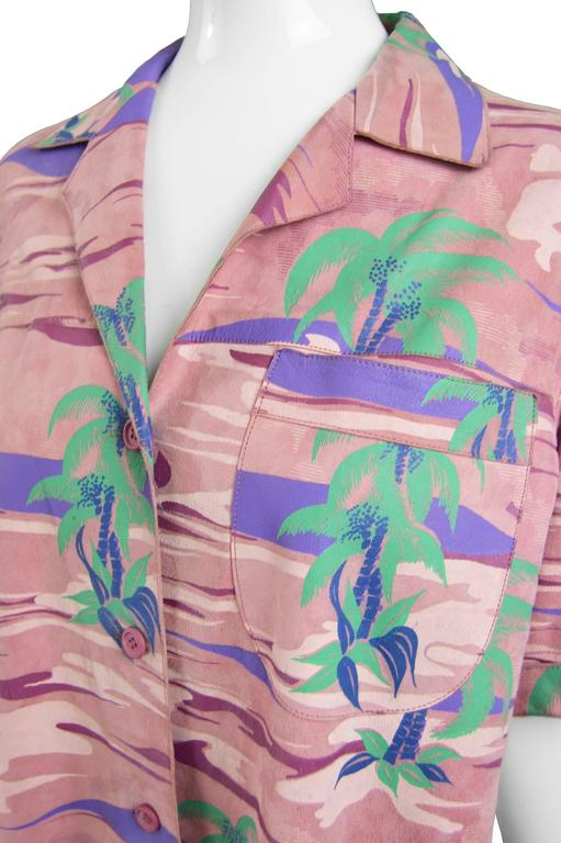 Roberto Cavalli Printed Suede Vintage Pink Tropical Island Shirt, 1970s In Excellent Condition For Sale In Doncaster, GB