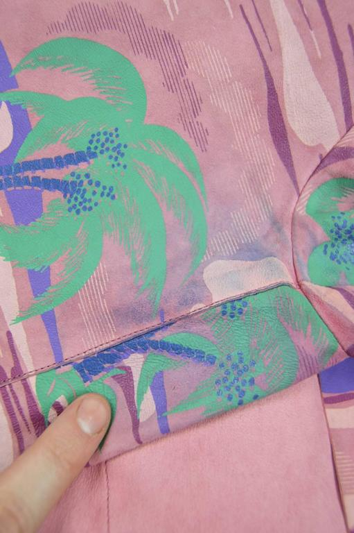 Roberto Cavalli Printed Suede Vintage Pink Tropical Island Shirt, 1970s For Sale 3