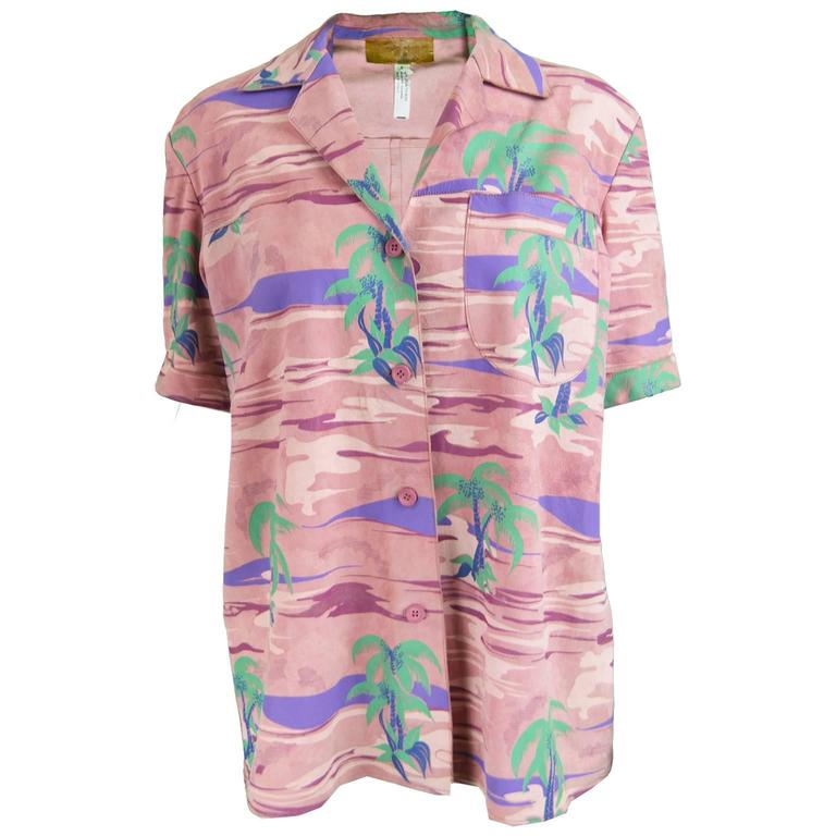 Roberto Cavalli Printed Suede Vintage Pink Tropical Island Shirt, 1970s For Sale