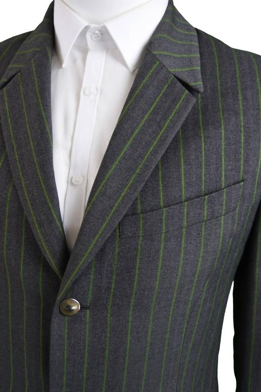 Thierry Mugler Men S Grey And Green Pinstripe Wool Blazer
