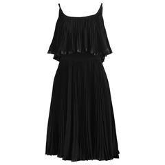 Oleg Cassini Vintage Tiered Pleated Crepe Little Black Dress, 1960s