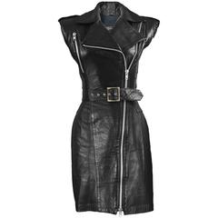 Michael Hoban for North Beach Leather Black Leather Biker Style Dress, 1980s