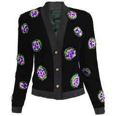 Vintage 1980s Silk Grosgrain & Velvet Ribbonwork Evening Jacket
