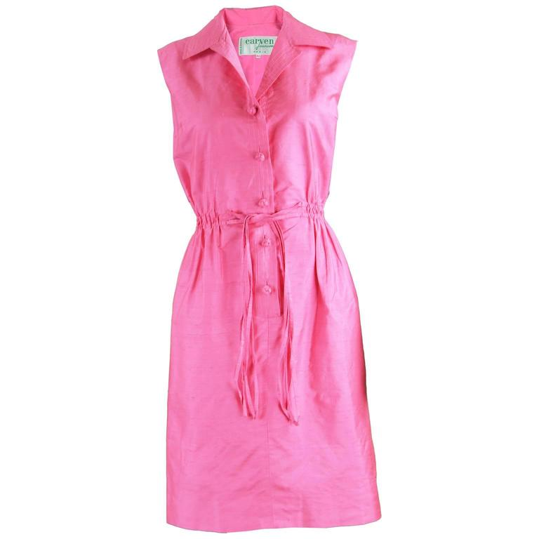 Carven Paris Pink Silk Shantung Sleeveless Shirt Dress, 1960s