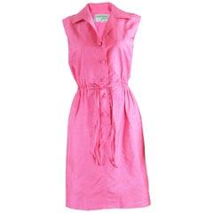Carven Paris Pink Silk Shantung Sleeveless Shirt Dress, 1960s