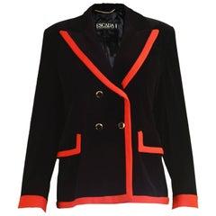 Escada Black Velvet & Red Crepe Womens Vintage Tailored Blazer, 1980s