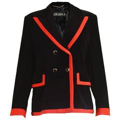 Escada Black Velvet & Red Crepe Womens Vintage Tailored Blazer, 1980s