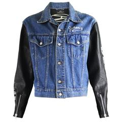 John Richmond Destroy Men's Denim Jacket with Faux Leather Sleeves, 1990s