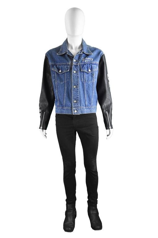 John Richmond Destroy Men S Denim Jacket With Faux Leather